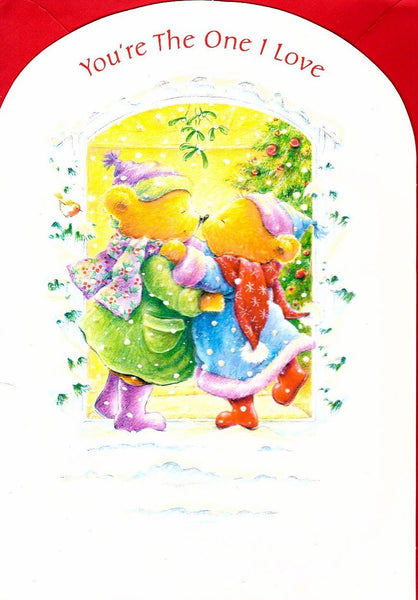 Christmas Card - One I Love - Bears Kissing Under Mistletoe