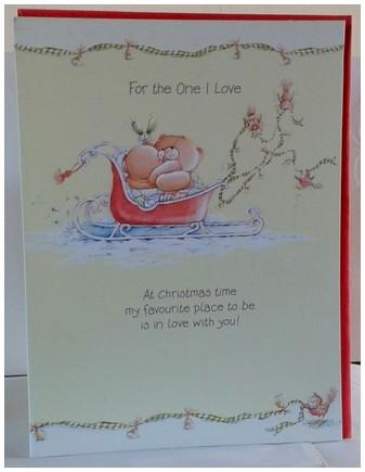 Christmas Card - One I Love - Bears In Sleigh