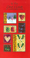 Christmas Card - One I Love - Squares Snowmen, Hearts & Gifts