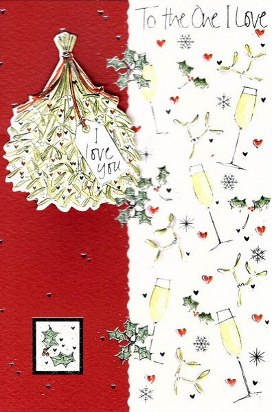 Christmas Card - One I Love - Mistletoe & Wine