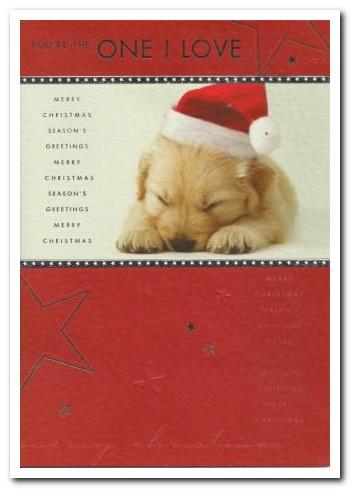 Christmas Card - One I Love - Puppy In Christmas Hat