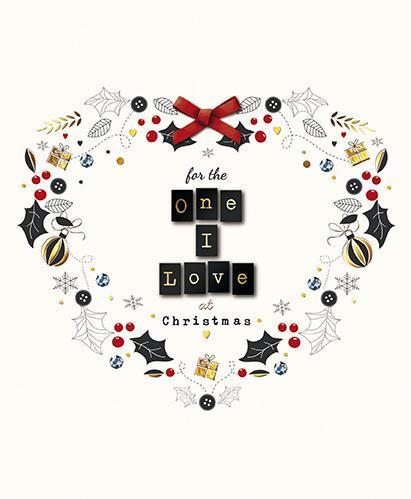 Christmas Card - One I Love - Heart Wreath