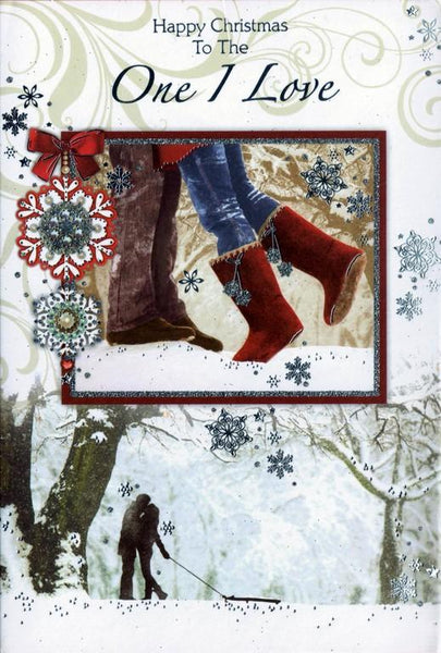 Christmas Card - One I Love - Couple Kissing