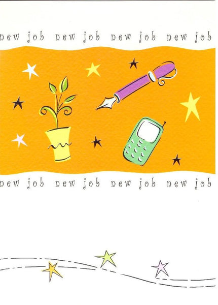 New Job Card - Icons, Plant, Fountain Pen & Mobile Phone