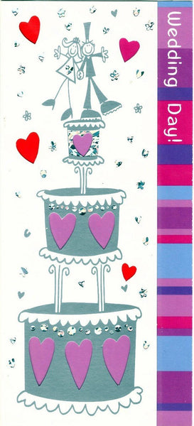 Wedding Card - Matchstick Bride & Groom On Top Of Cake