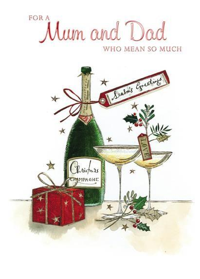 Christmas Card - Mum and Dad - Champagne