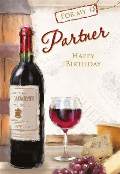 Partner Birthday Card - Wine/Cheese/Grapes