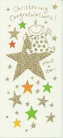 Christening Card - What A Star