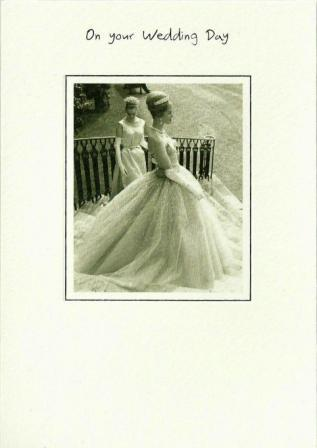 Wedding Card - Bride and Chief Bridesmaid on Steps