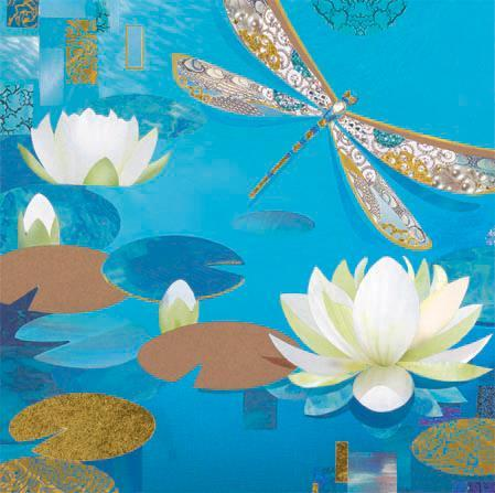 Blank Card - Blue Dragonfly & Water Lilies