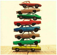 Birthday Card - Vintage Stacked Cars