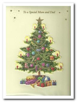 Christmas Card - Mum and Dad - Christmas Tree & Gifts