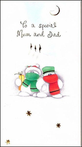 Christmas Card - Mum and Dad - Bears in Hats & Scarfs