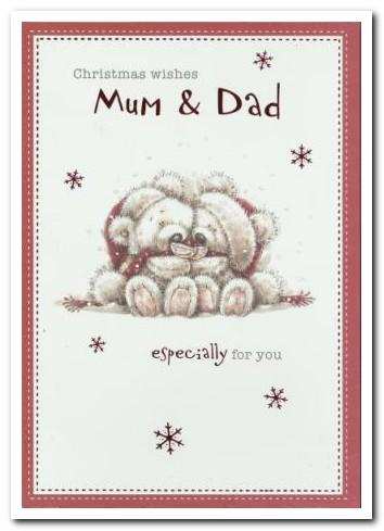 Christmas Card - Mum and Dad - Bears Sipping Champagne