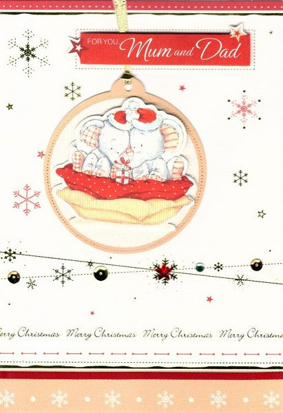Christmas Card - Mum and Dad - Cosy Elephants In Santa Hats