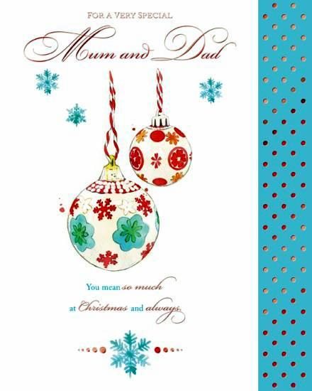 Christmas Card - Mum and Dad - 3 Baubles