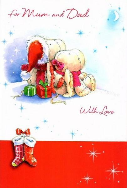 Christmas Card - Mum and Dad - Bears Star Gazing