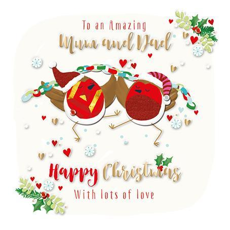 Christmas Card - Mum and Dad - Dancing Robins With Christmas Paper Chain