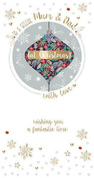 Christmas Card - Mum and Dad - Festive Foliage Bauble