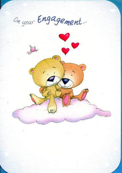 Engagement Card - Bears Snuggling on Cloud