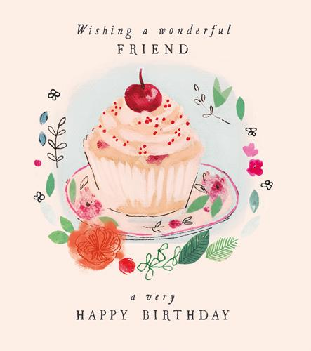 Birthday Card - Special Friend - Cupcake
