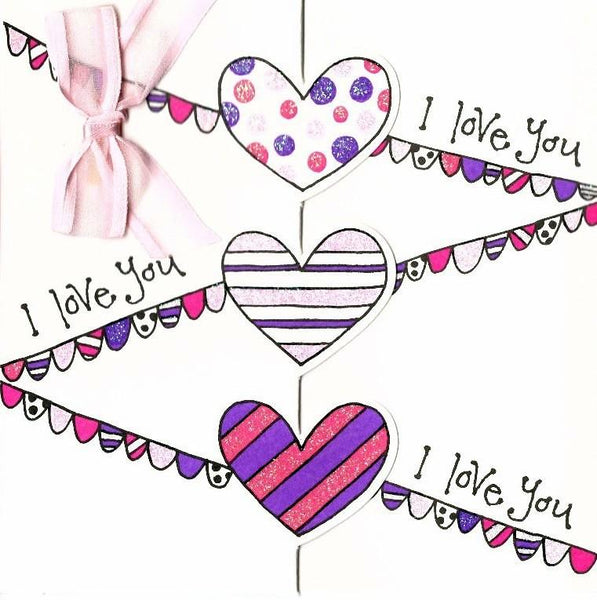 One I Love Card - 3 Hearts & Ribbon