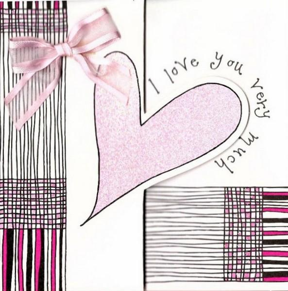 One I Love Card - Pink Heart & Ribbon