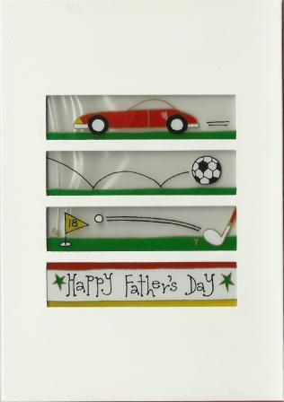 Father's Day Card - Red Sports Car, Football, Golf