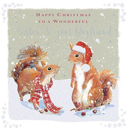 Christmas Card - Sister and Boyfriend - Squirrels In The Snow