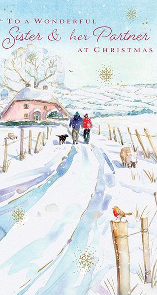 Christmas Card - Sister and Partner - Walk On A Frosty Morning