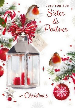 Christmas Card - Sister and Partner - Lantern/Baubles