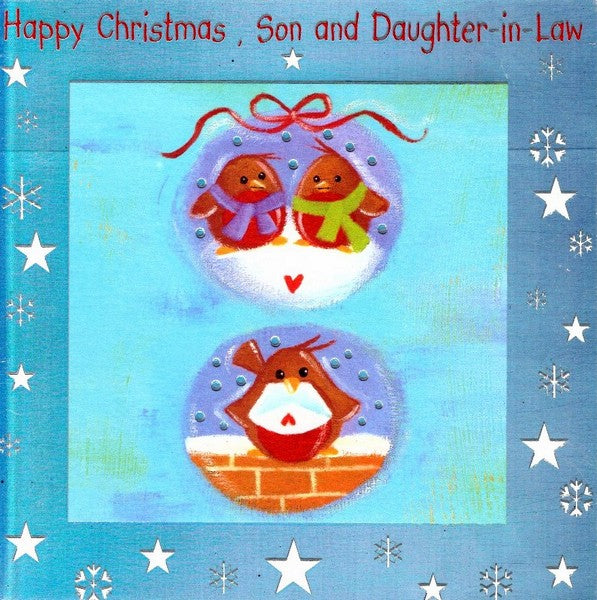Christmas Card - Son and Daughter-in-Law - Christmas Robins on Baubles