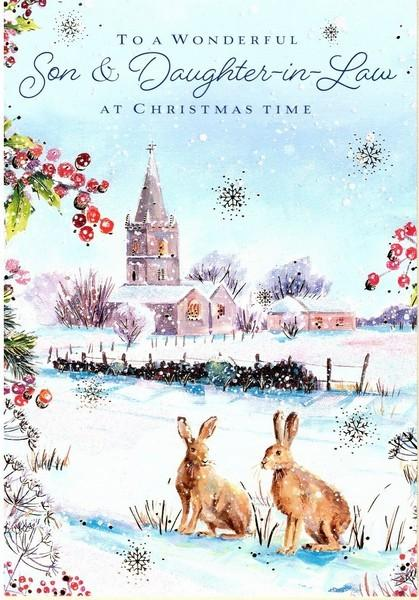 Christmas Card - Son and Daughter-in-Law - Hares On The Meadow