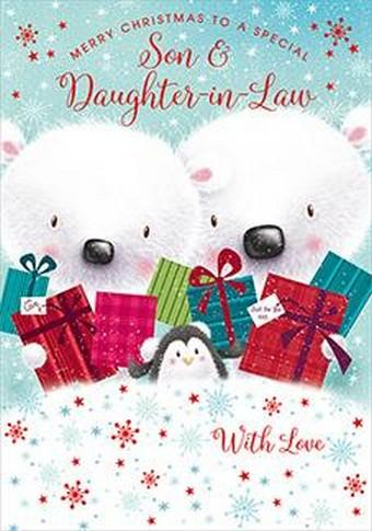 Christmas Card - Son and Daughter-in-Law - Polar Bears/Pressies