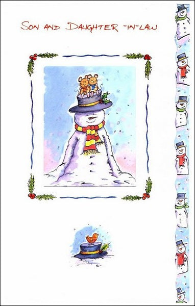 Christmas Card - Son and Daughter-in-law - Mice on Snowman