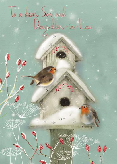 Christmas Card - Son and Daughter-in-Law - Robins and Birdhouse