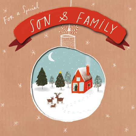 Christmas Card - Son and Family - House & Reindeer