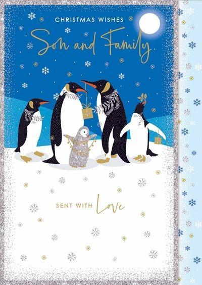 Christmas Card - Son and Family - Penguins & Presents