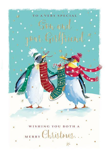 Christmas Card - Son and Girlfriend - Christmas Penguins