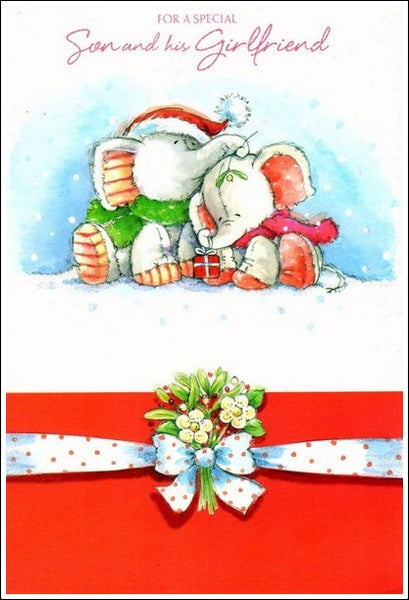 Christmas Card - Son and Girlfriend - Mistletoe Kiss