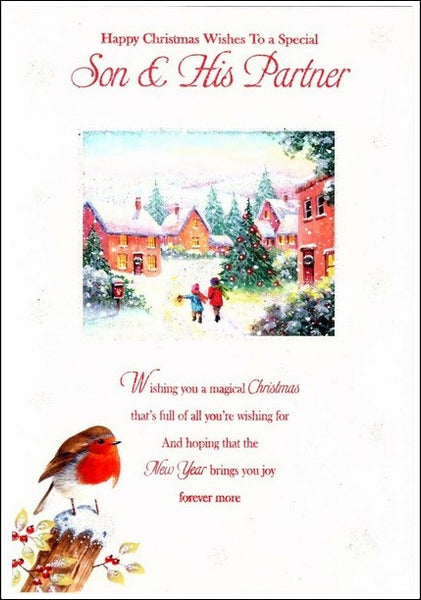 Christmas Card - Son and Partner - Snowy Village Scene