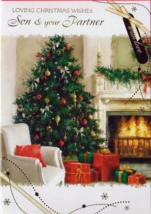 Christmas Card - Son and Partner - Christmas Tree & Fireside