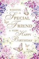 Birthday Card - Special Friend - Lilac/Butterflies