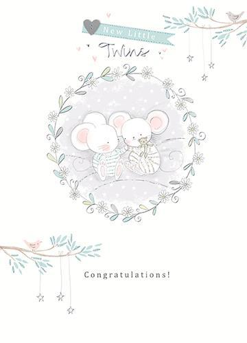 New Baby Card - Twins - Two Baby Mice