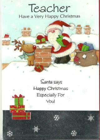 Christmas Card - Teacher - Posting Gifts Down The Chimney