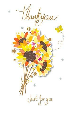 Thank You Card - Tied Bright Flowers