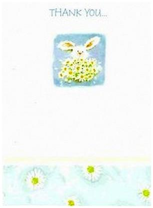 Thank You Card - Bunny With Flowers