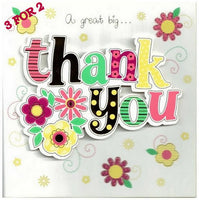 Thank You Card - Flowers & Text