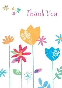 Thank You Cards - Pack of 5 Thank You cards - Bright Flowers