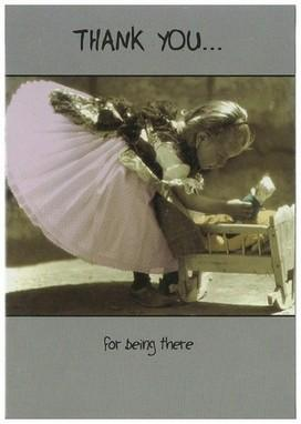 Thank You Card - Little Girl With Doll and Cot